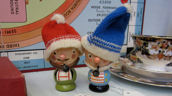 Salty sea dog egg cups & bobble hat warmers.