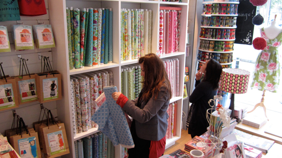Choosing fabrics from the vast array of pretty colours and pretty patterns.