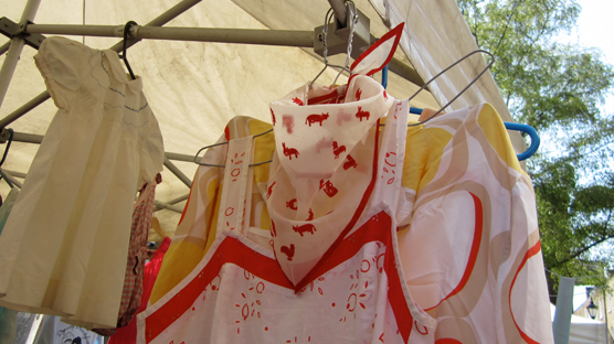 A child's neckerchief made using the devore technique.