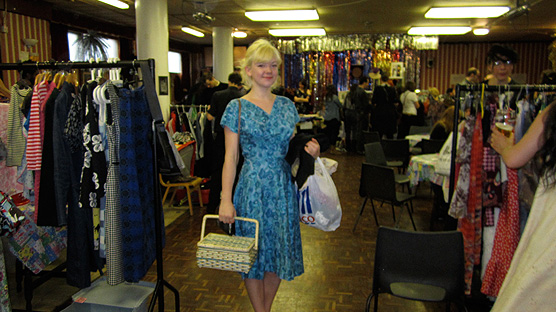 Naomi Thompson from Vintage Secret at the Rock'n'Roll Jumble Sale.