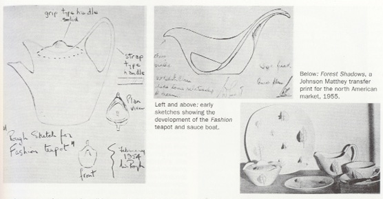 Early sketches showing development of the Fashion teapot and sauce boat.