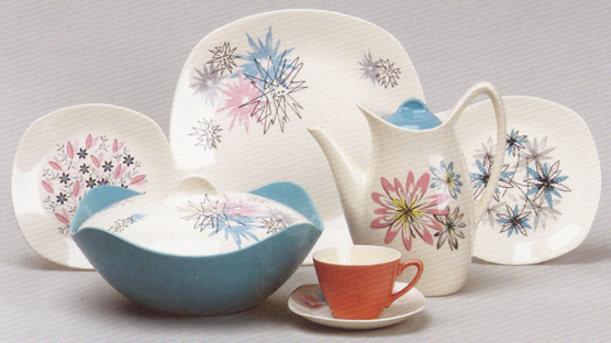 1950s Fashion Shape. L to R Marguerite Quite Contrary Alpine. Front L to R Quite Contrary Astral Daisy Dell & Teaware Crush: Midwinter Pottery | Thrift-ola