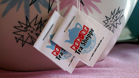 The logo'd tea tags we designed for the Lady Luck's Pop-Up Tea Shoppe.