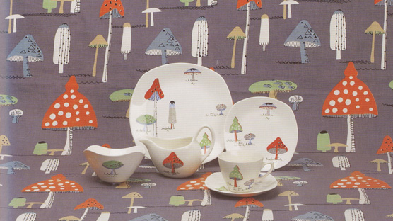 The 1956 Toadstools design adapted from a contemporary fabric.