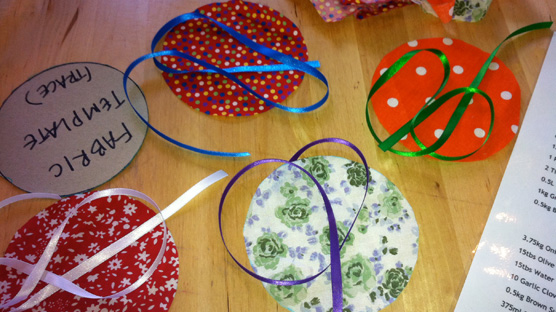 Pretty fabrics and ribbons to transform our homemade jams and chutneys into perfect presents.