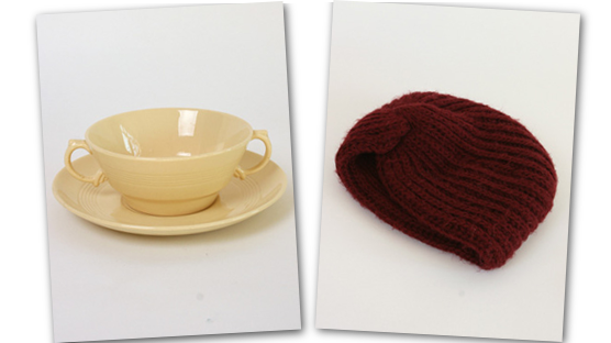 Jasmine soup bowl and knitted turban.