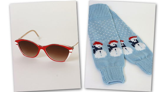 Cherry red sunnies and icy blue snowmen legwarmers.