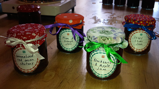 My homemade jam and chutney suited and booted ready for Christmas.