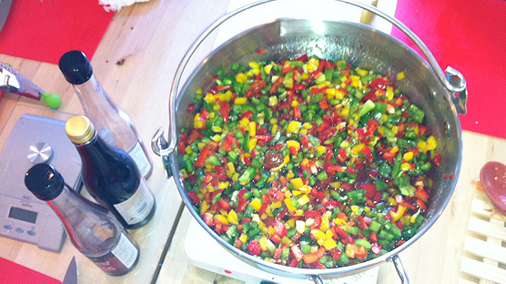 Piles and piles of peppers for our sweet chilli jam.