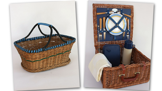 Wicker basket and wicker picnice hamper set for two.