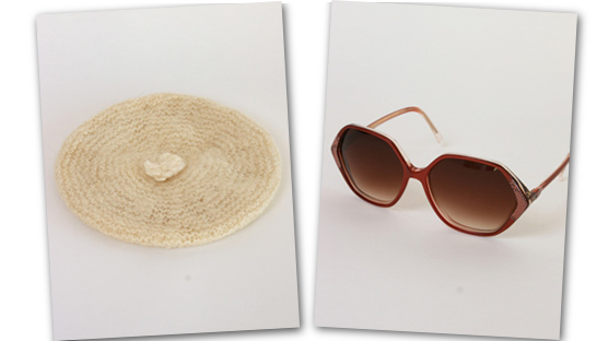 Hand knitted wool beret and burgundy sunnies.