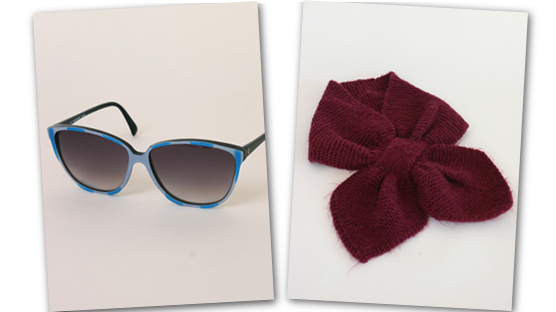 Electric blue sunnies and claret colour hand knitted scarflette.
