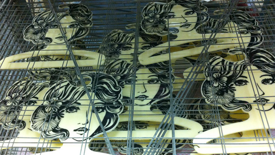 The first batch of Lola's drying on the printing rack.