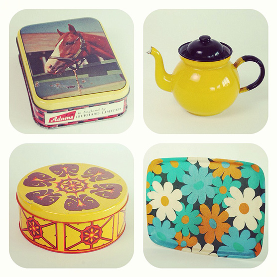 A ray of vintage sunshine! Horse tin, enamel teapot, daisy tray and cake tin.