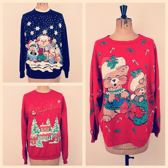 A trio of vintage Kitschmas jumpers.