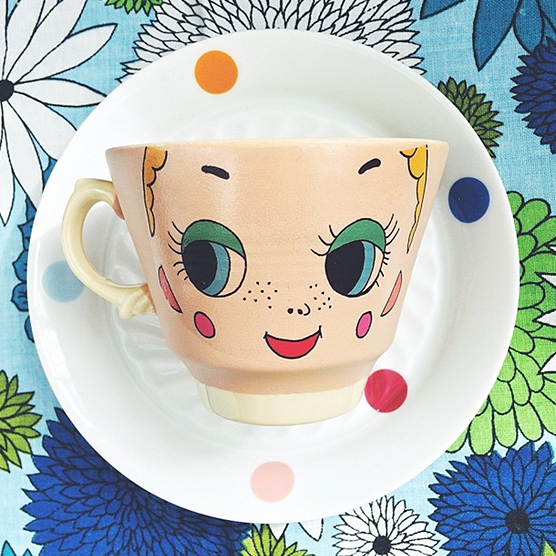 Twiggy face cups - one of the latest designs by Pilfered.