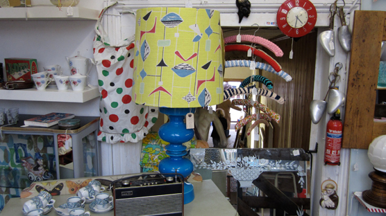 A stunning statement lamp customised with 50's fabric.