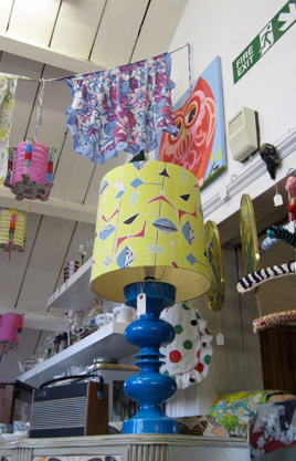 a retro blue Italian lamp