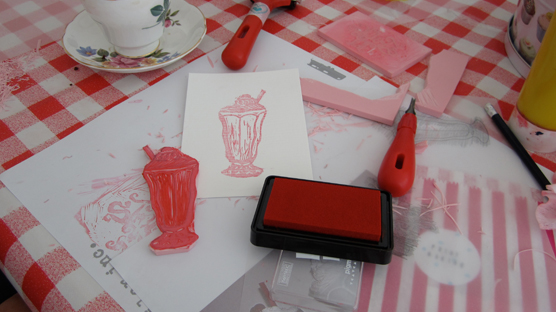 Pink sundae stamp used to make greetings cards.
