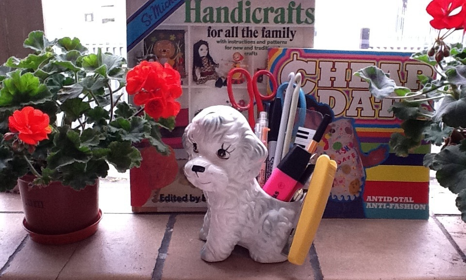 Poodle Pup taking care of my face stationery items