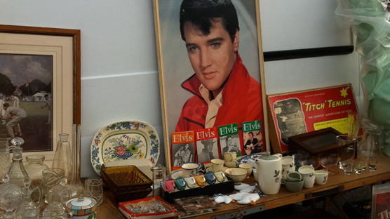 A stall dedicated to the King of rock'n'roll Elvis Presley.