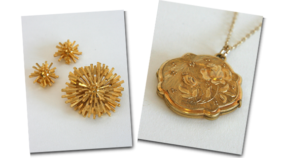 Going for gold! Sputnik style brooch and earring set and rose locket.