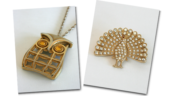 1960s geometric owl pendant and diamante peacock brooch.
