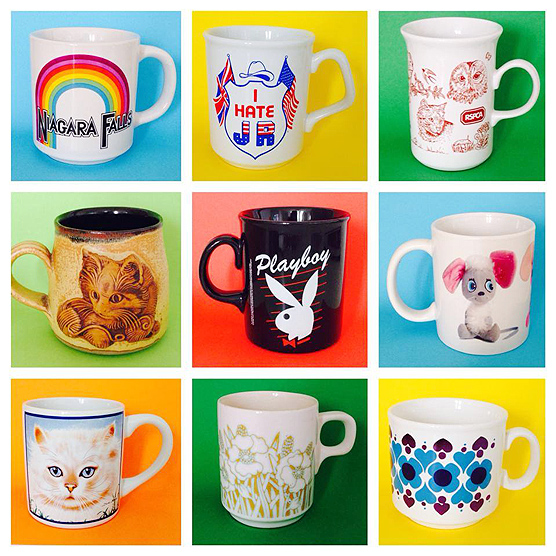 Kitsch 'n colourful selection of Thrift-ola mugs.